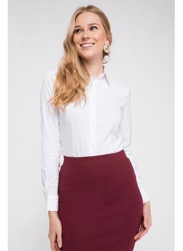 DeFacto Basic Uzun Kollu Gömlek Beyaz